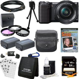 Sony NEX 5TL/B NEX5TL NEX5T NEX5 Compact Interchangeable Lens Digital Camera with 16 50mm Power Zoom Lens Bundle with High Speed 64GB Card, Spare Battery (Qty 2), 3 Piece filter kit, DVD SLR Tutorial, Deluxe Case and More  Point And Shoot Digital Camera