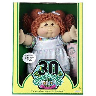 Cabbage Patch Kids Vintage Doll   Limited Edition 30th Birthday   Red Hair with Flowered dress and White Apron: Toys & Games