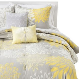Anya Floral 5 Piece Comforter Set   Gray/Yellow (King)
