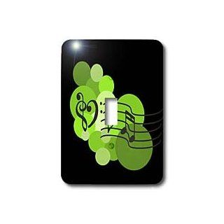 3dRose LLC lsp_56703_1 Music Love, Heart treble and bass Clefs, Musical Notes and Polka Dots, Green on black, Single Toggle Switch   Switch Plates