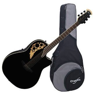 Ovation Elite 1778TX 5GSM Acoustic Electric Guitar, Black/Spalted Maple, with Ovation Zero gravity Case Musical Instruments