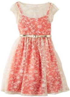 Bonnie Jean Girls 7 16 Coral Lace Over Dress, Pink, 8 Clothing