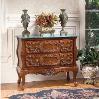 "30"" French Antique Replica Furniture Solid Hardwood Marble topped Chest Foyer   Chests Of Drawers"