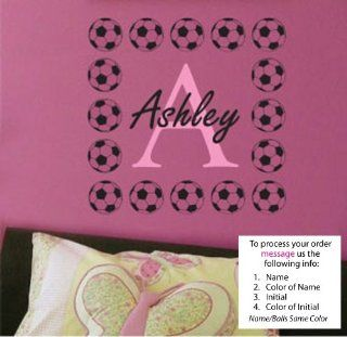Wall Decal Childrens Personalized Name   Childrens Wall Art   Girls Name Wall Decal   Monogram Ashley Soccer   Wall Decor Stickers