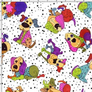By HALF YARD Loralie Designs Dog Happy TOSSED HAPPY DOGS White 691 897 Quilting Cotton Sewing Fabric