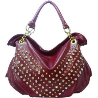 Rhinestone Studded Hobo Bag With Decorative Tassels Faux Leather Red Shoes