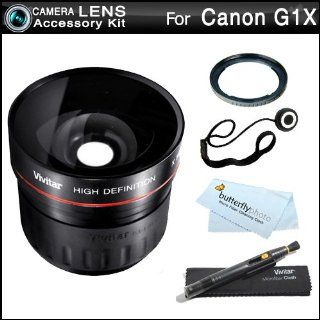 58mm Fisheye Lens Kit For Canon G1X, G1 X Digital Camera Includes (Replacement FA DC58C Filter Adapter) + High Definition 0.21x Super Wide Angle Fisheye Lens + LensPen Cleaning Kit + Lens Cap Keeper + Microfiber Cleaning Cloth  Digital Camera Accessory Ki