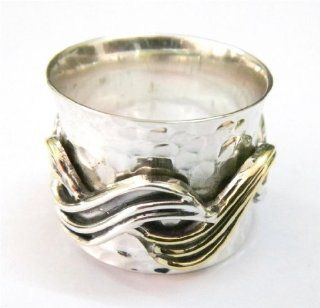 SILVER BRASS COPPER SPINNER RING 925 SILVER JEWELRY HANDMADE RING SIZE 9 IAR1404: Jewelry