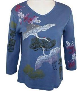 Jess & Jane, 3/4 Sleeve, Rhinestone Studded, Hand Block Printed Cotton, V Neck, Indigo Colored Tank Top   Crane Dance