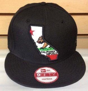California Republic New Era Retro Snapback Cap Hat 2 Tone CA State Logo All Blk