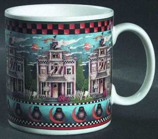 Sakura Haunted House Mug, Fine China Dinnerware   Debbie Mumm,Checked Rim,Ghosts