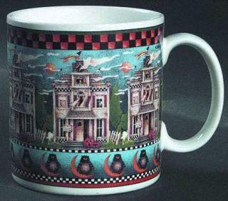 Sakura Haunted House Mug, Fine China Dinnerware   Debbie Mumm,Checked Rim,Ghosts