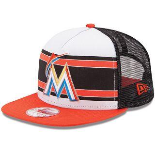 newest 749a1 47473 NEW ERA Mens Miami Marlins Band Slap 9FIFTY Snapback Cap Size Adjustable,