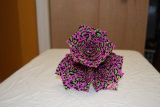 Pink and Green Leopard Print Duct Tape Flowers