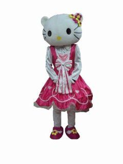 Hello Kitty Mascot Costume Christmas Adult Cartoon Fancy Sexy Halloween Dress Fur Costume : Sports & Outdoors