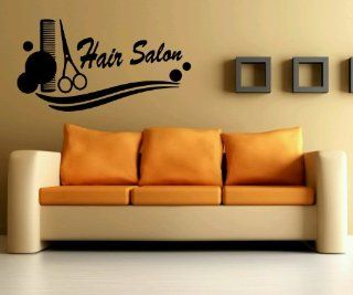 Wall Vinyl Sticker Decals Mural Design Art Hair Business Sign Salon Scissors Comb Haircut 731   Wall Decor Stickers