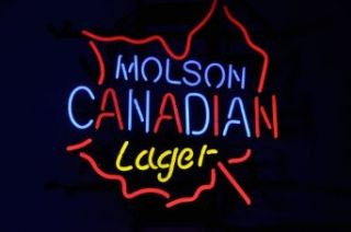 Molson Canadian Leaf Lager Beer Bar Neon Light Sign Real Glass Tube 19'x15'' Handcrafted
