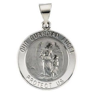 Clevereve's 14K Yellow Gold 18.25X18.50 mm Hollow Round Guardian Angel Medal: CleverEve: Jewelry