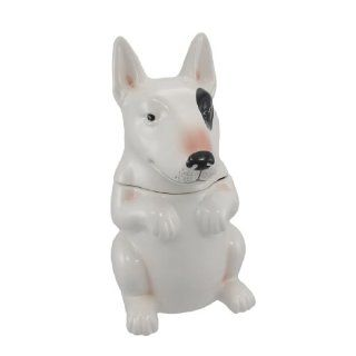 LITTLE BEGGAR Bull Terrier Dog Ceramic Cookie Jar Treats Kitchen & Dining