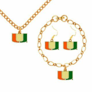 NCAA Miami Hurricanes Jewelry Set : Sports Fan Bracelets : Sports & Outdoors