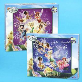 Set of 2 Disney Fairies TinkerBell 100pc Puzzle   LIGHT, BRIGHT & SPARKLY / ARE YOU DUSTWORTHY? Toys & Games