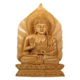 Hand Carved Wood Buddha Statue on Leaf Throne  Patio, Lawn & Garden
