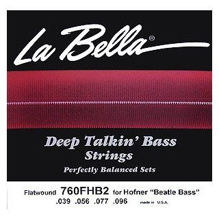 LaBella 760FHB2 Flatwound Short Scale Bass 4 String Pack (.039 .096) For Hofner Beatle Bass Musical Instruments