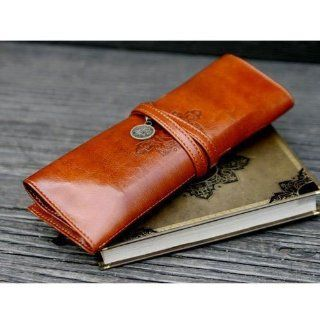 niceEshop(TM) New Fashion Twilight Retro Style Bandage Leather Pen Bag Pencil Case Makeup Cosmetic Pouch Dark Brown Shoes