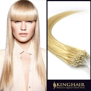 22 Inch Micro Loop Ring Beads Remy Human Hair Extensions Bleach Blonde_613 100s (0.5g/s)_ 50g Weight : Beauty