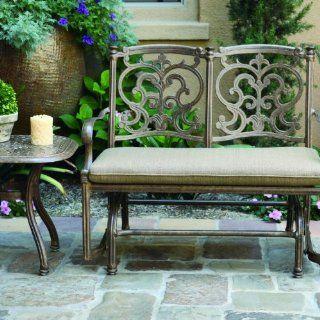 Darlee Santa Barbara 2 person Cast Aluminum Patio Bench Glider Conversation Set   Antique Bronze  Patio Chairs  Patio, Lawn & Garden