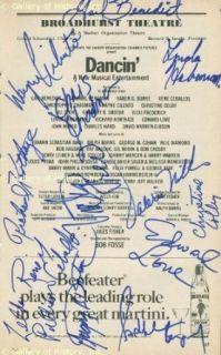 DANCIN' BROADWAY CAST   SHOW BILL SIGNED CO SIGNED BY: GAIL BENEDICT, LINDA HABERMAN, WAYNE CILENTO, CHRISTOPHER CHADMAN, RICHARD KORTHAZE, VICKI FREDERICK, CHRISTINE COLBY, EDWARD LOVE, GREGORY B. DROTAR, SANDAHL BERGMAN, KAREN G. BURKE, RENE CEBALLOS