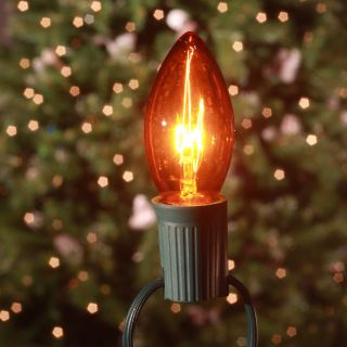 Brite Ideas 25 Bulb C9 Incandescent Transparent Light Set   Amber   Christmas Lights