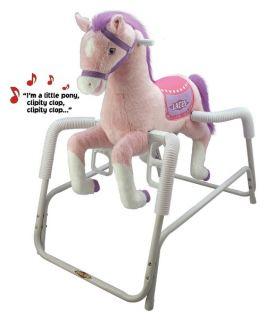 Tek Nek Toys Rockin Rider Lacey Deluxe Talking Plush Pink Spring Rocking Horse   Rocking Toys