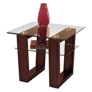 Magnussen Cordoba Wood and Glass End Table   End Tables