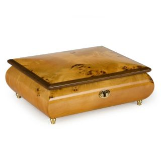 Mapa Burl Musical Wooden Jewelry Box   Womens Jewelry Boxes