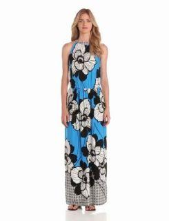 London Times Women's Printed Maxi Dress, Blue/Black, 14 at  Women�s Clothing store
