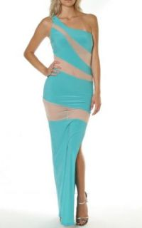 Pinkclubwear Mint White Mesh Panel Insert One Shoulder Side Slit Long Maxi Dress Mint Medium at  Women�s Clothing store