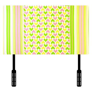 Kidz World Ann Bryan Kids Collection Twin Headboard   Pink/White/Chartreuse   Headboards