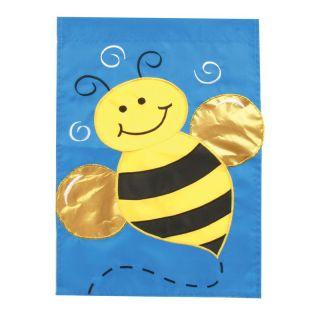 Toland 28 x 40 in. Honey Bee Applique Garden Flag   Flags