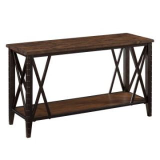 Magnussen Fleming Wood and Metal Sofa Table   Rustic Pine Finish   Console Tables