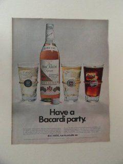 Ron Bacardi Rum, print ad (pepsi/7up/club soda.) Orinigal Magazine Print Art.