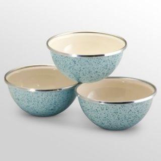 Paula Deen Signature Enamel On Steel 3 Piece Prep Bowl Set   Robins Egg Blue   Mixing Bowls