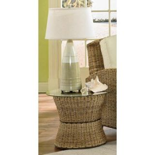 Home Styles Cabana Banana Round Drum Accent Table with Glass Top   Wicker Furniture