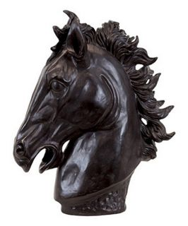 Urban Trends 19H in. Resin Horse Head   Black   Sculptures & Figurines