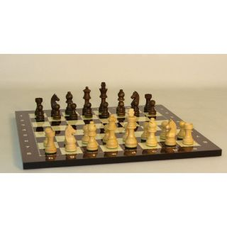 German Knight Chess Set on Alpha Numeric Decoupage Board   Chess Sets