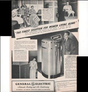 General Electric Automatic Heating And Air Conditioning The Finest Solution For Women Living Alone 1937 Antique Advertisement : Prints : Everything Else