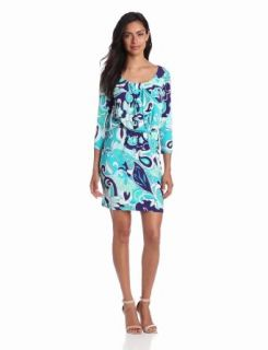 Donna Morgan Women's 3/4 Sleeve Boat Neck Printed Dress, Navy/Mint, 6 at  Women�s Clothing store: