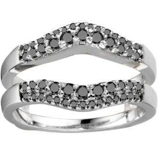 14k Yellow Gold Solitaire Ring Guard Enhancer (0.53 CT. Black And White Diamonds).: Jewelry