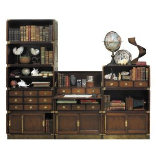 ... Authentic Models Campaign Drop Down Desk And Bookcase Wall Bookcases ...