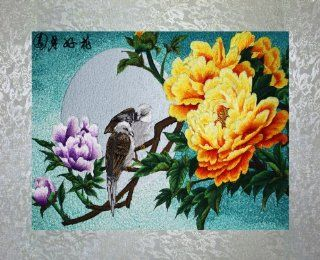 "PEA Designs, Full Moon Love Birds Wall D�cor, Premier 1/4 Thread Stitching, Chinese Su Embroidery Pattern, Timeless Wall Hanging Artwork, Elegant Needlepoint Tapestry, Traditional Wall Art for Room Decoration, Unique Housewarming Gift Idea, 27 5/32"" x"